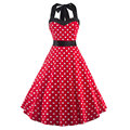 Vintage Dress Rockabilly Andrey Hepburn Casual Party Robe Retro Halter Neck Polka Dot Print Big Wing