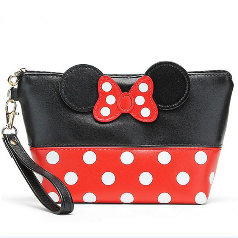 lovely Mickey bow bag Red dot minnie clutches bag keys cell phone pocket animal printing cartoon characater style Patchwork bag(China (Mainland))