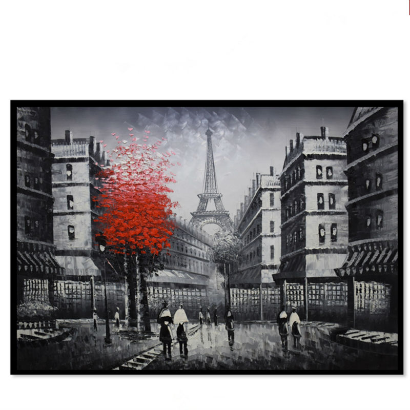 Hand painted Landscape Oil Paintings Modern Europe Black and White Paris Street Wall Art Picture Canvas Paintings Abstract(China (Mainland))