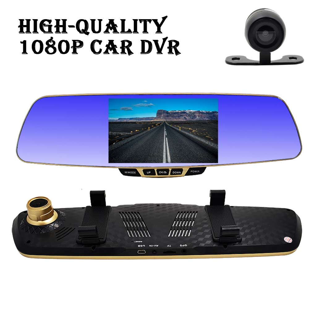 "5.0"" Full HD 1080P Car Camera Novatek Car DVR Blue Rearview Mirror Dash Cam Dual Lens Video Recorder Registrator Camcorder 8185(China (Mainland))"