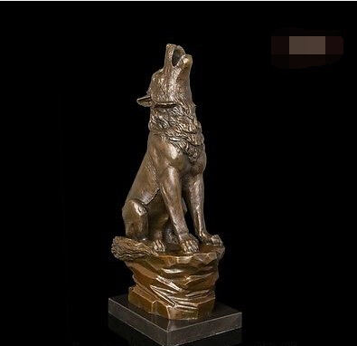 Abstract Art Sculpture Decoration West Bronze Copper Marble Wolf Statue Figurine(China (Mainland))