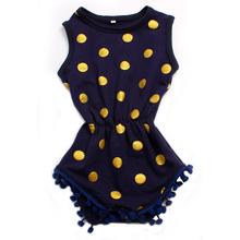 NEW!! Baby Boy Bodysuits Fashion Baby Girl Gold Polka Dots Bodysuit Baby Girl Bodysuits Fit For 0-2T Newborn Baby Clothing(China (Mainland))