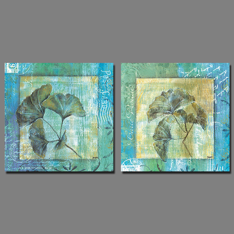 2pcs/set Blue Green Flowers leaf Picture decoration Canvas Painting wall Art leaves print living room home decor unframed(China (Mainland))