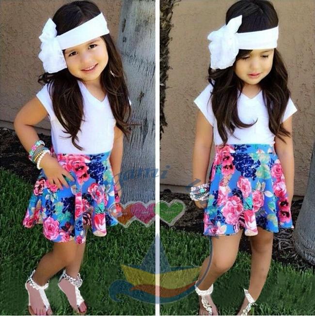 EMS/DHL Free Shipping NEW!2015 Girls Summer Cute Summer Girls Striped Shirt + Floral Skirt 2 Piece Suit<br><br>Aliexpress
