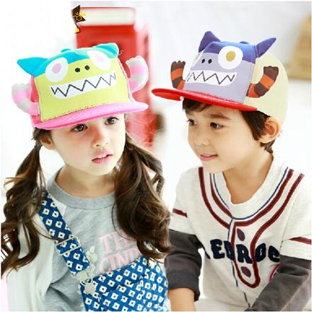 Cartoon children baby baseball cap hat in spring and autumn, peaked cap flat brim hat boy girl bonnet(China (Mainland))