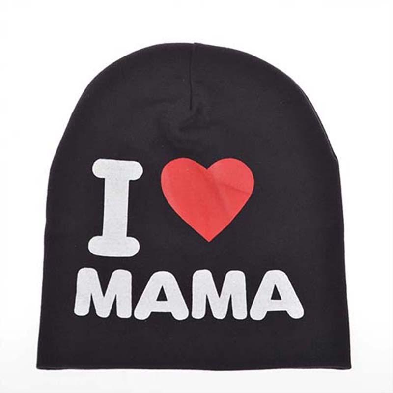 2015 Fashion Autumn Baby Hat Knitted Warm Cotton Toddler Beanie Baby Cap Kids Girl Boy I Love Papa Mama Print Kid Hats(China (Mainland))
