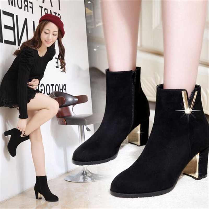 Гаджет  2015 New Booties Leather Shoes Woman Plush Warm High Heels Winter Sexy Iadies Shoes Black 1pcs/Lot None Обувь