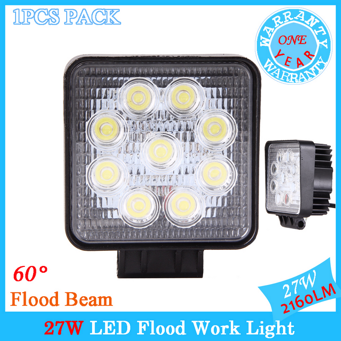 "1PCS LED Work Light 4"" Inch 27W 12V 24V Spot Flood Lamp for Motorcycle Tractor Truck Trailer SUV Off roads Boat 4WD 4x4(China (Mainland))"
