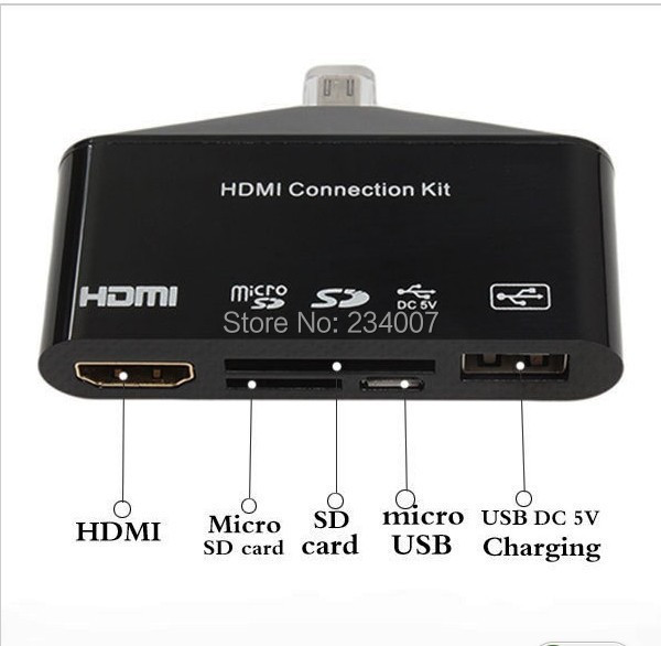 MHL to HDMI HDTV HD TV Adapter USB OTG Card Reader Camera Connection kit for Samsung Galaxy S3 I9300 S4 I9500 Note 2(China (Mainland))
