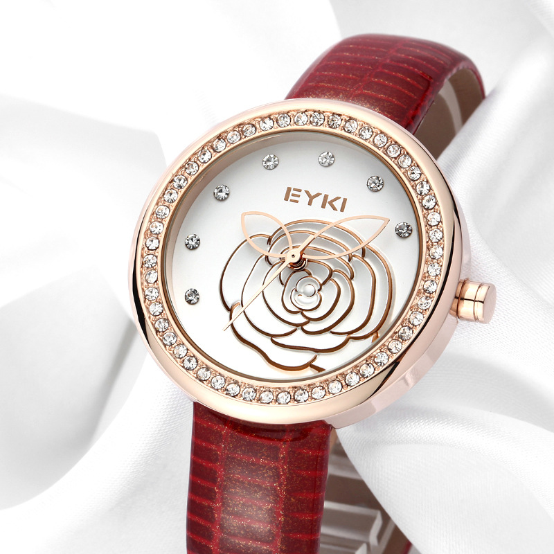 Luxury Eyki Brand Ladies Genuine Leather Quartz Watches Relief Flowers Gold Plated Dial Wristwatches For Women Relogio Feminino(China (Mainland))