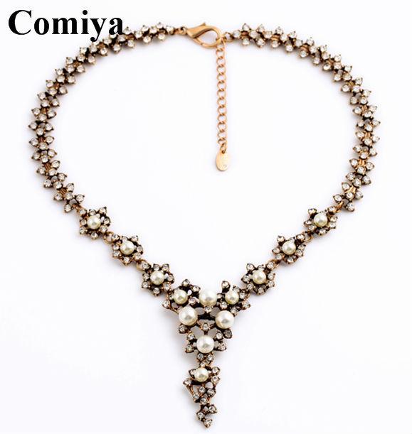Fashion necklace for women celebrity pearl rhinestone ...