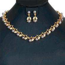 CWEEL Imitation Perle Schmuck Sets Türkische Silber Gold Farbe Schmuck Sets Für Frauen Hochzeit Afrikanische Perlen Schmuck Set(China)
