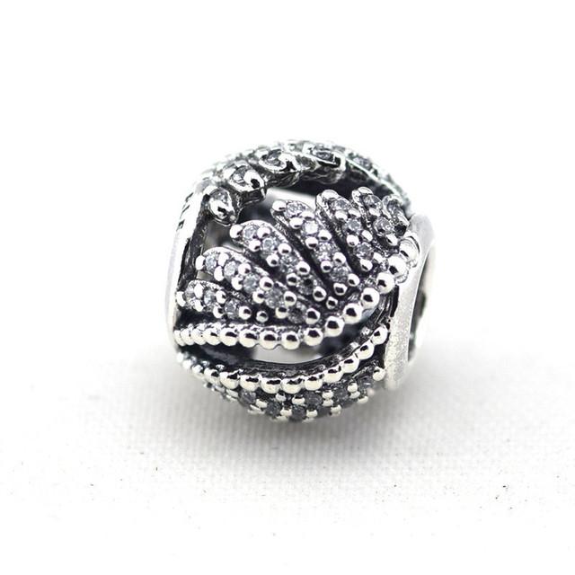Осень стиль стерлингового серебра 925 пробы украшения величественный перья бусины с камнями Fit пандора оригинальный подвески браслеты DIY ювелирных украшений
