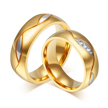 18k gold plated 6mm wide wedding rings for men and women jewelry