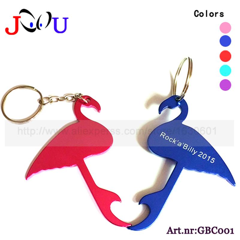 (2000pcs/lot)Top sell custonized aluminum flamingo bottle opener keychains / wholesale cheap key ring/pantone colors is ok(China (Mainland))