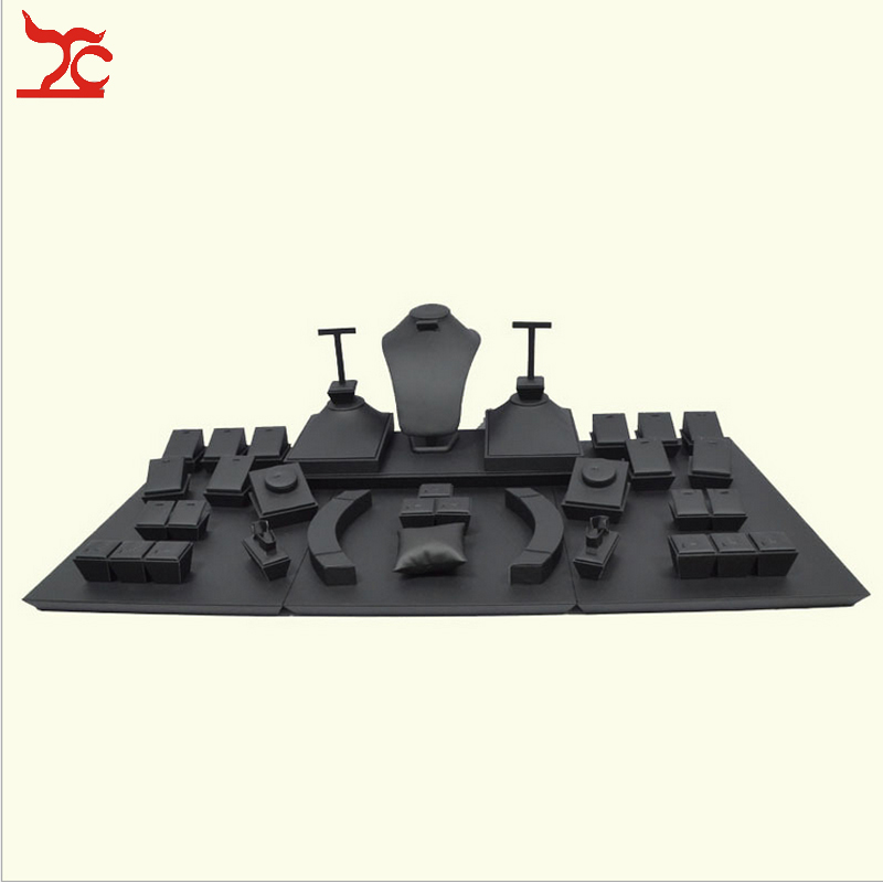 Wooden Jewelry Display Set Black Leatherette Necklace Display Stand Ring Holder Stud Earring Organizer Window Showcase Kit(China (Mainland))