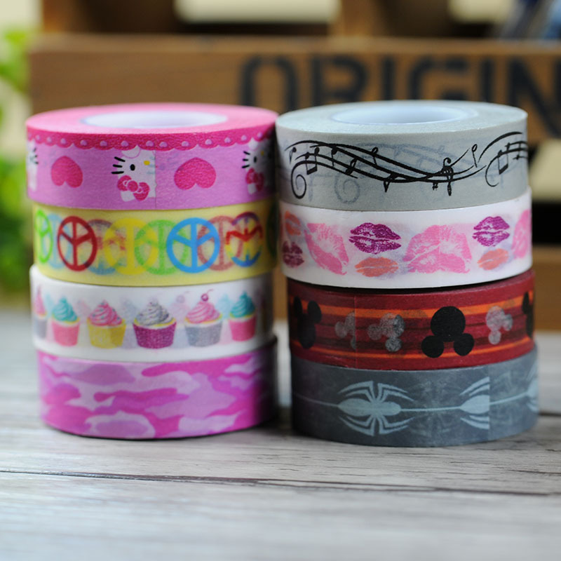 1.5cm*15m Kitty Cat Spider Lips Music Note Washi Paper Masking Tapes Diary Deco Diy Tape Sticker Decorative Stickers(China (Mainland))