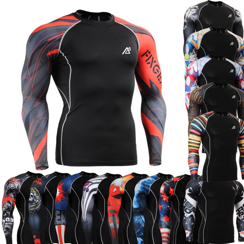WHOLESALE! Men's Compression Shirts Fitness & Exercise Base Layer Tights Bodybuilding Training Running MMA Tops Shirt(China (Mainland))