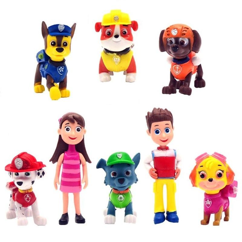 8 Pcs/Set Patrol Puppy Dog Toy Childrens Anime Action Figure Toy Mini Figures Patrol Dog Model Toys(China (Mainland))