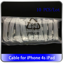 Wholesale 10PCS/Lot 30-Pin USB Cable For iPhone 4s High Quality 1m Data Sync Charger Cabo For iPhone 4 3G 3S iPad 3 2 trackable(China (Mainland))