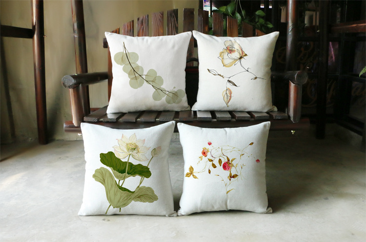 Flower Sofa Linen Cushion Cover 45x45cm Decorative Home Car Pillows Case Decor Merry Christmas Party Gift Style(China (Mainland))