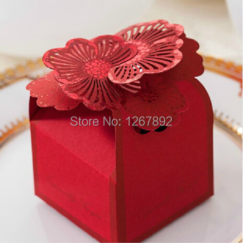 50pcs Elegant Red Gorgeous Flower Cardboard Paper Candy Boxes Wedding Bridal Shower Party Favors Gift Chocolate Bags(China (Mainland))