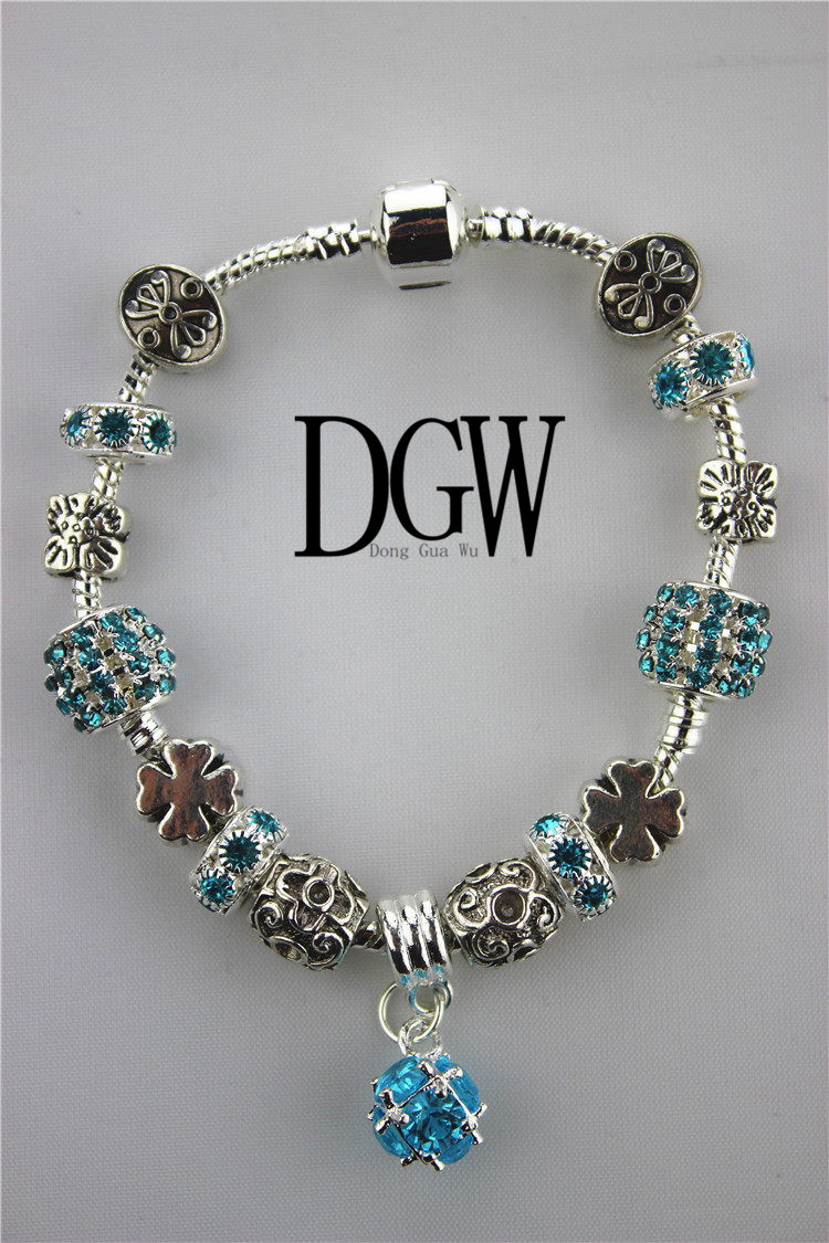 DGW Daisies Murano Glass&Crystal European Charm Beads Fits Pando Bracelets for women bracelets & bangles pulseira feminina(China (Mainland))