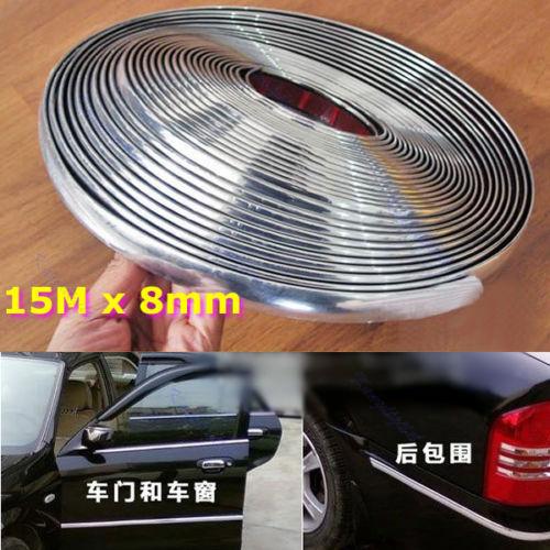 B76 15M 8mm Car Auto Chrome DIY Moulding Trim Strip For Window Bumper Grille Silver(China (Mainland))