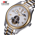 TVEISE Men Watches Top Luxury Brand Business Casual watches Men Hollow tourbillon Wristwatch Full Steel Mechanical