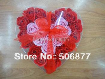 24pcs=1box 2015 Hot Gift Washing Cleaning Bath Rose Flower Gift Organtic Wedding Heart Multicolor Bowknot Paper Petals Soap
