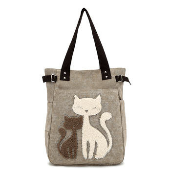 2016 Women's handbag canvas bag with cute cat Appliques portable fashion ladies small bags