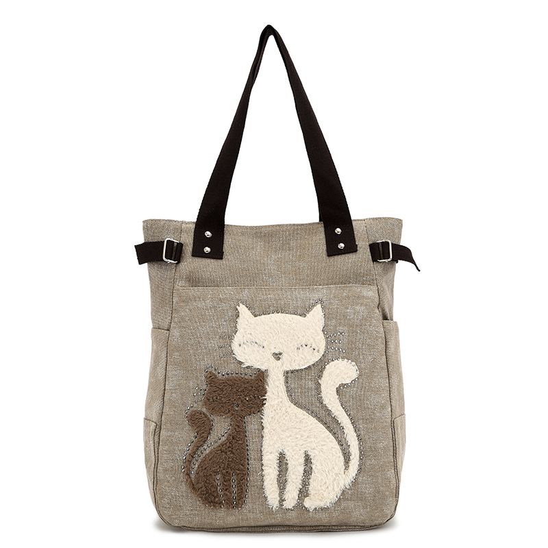 Free shipping!2015 women's handbag canvas bag with cute cat Appliques portable small bags(China (Mainland))