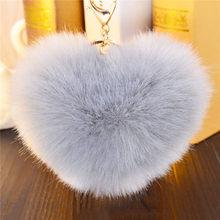 8 centímetros Pompom Fofo Bal Anel para Bolsa Pingente de Chave Em Forma de Coração Arco Chaveiro Coelho Artificial De Pele Pom pom pele Bola Chaveiro(China)