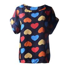 Durable camisas femininas roupas femininas plus size women clothing heart printing t shirt women short-sleeved women tops(China (Mainland))