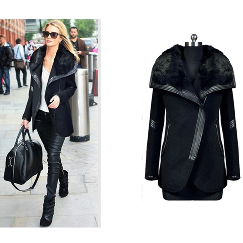 2015 Plus Size XL-5XLWinter& Autumn Wool Thick Female Jacket Large Long Slim Leather Fall Women Coat Fur Collar GD35