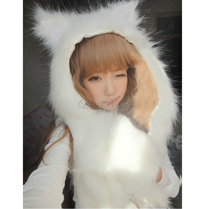Best Sale Women Fur Hat Ladies Animal Cap Faux Fur One Piece Cartoon Winter Warm Hat Dropshiping Christmas gifts 50(China (Mainland))
