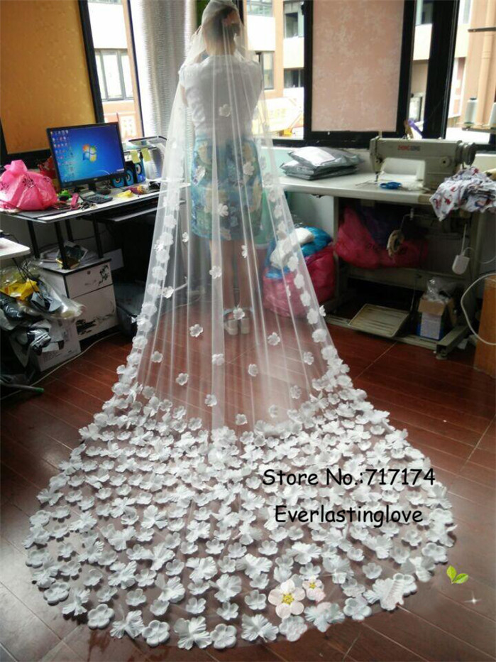 2015 Real Photos 3M White/Ivory Long Wedding Veil With Comb Flowers Bridal Veil Wedding Accessories veu de noiva longo(China (Mainland))