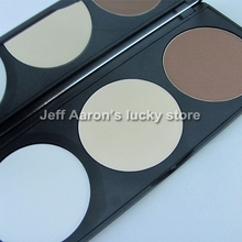 Professional 3 Colors Mineral Makeup Pressed Face Powder Cosmetic Contour Concealer Palette With Mirror Makeup Salon(China (Mainland))