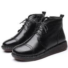 Sıcak 2019 Yeni Kış Hakiki Deri Çizmeler sıcak ayakkabı Artı Kadife Kar Botları kaymaz Düz Yumuşak Alt kadın ayakkabısı, çizmeler(China)