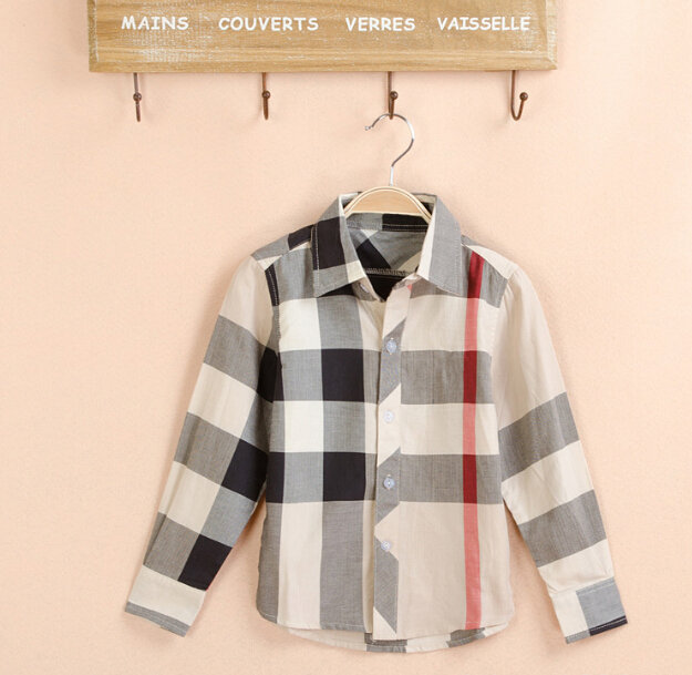 2-13Yrs Boys Clothes Shirt New 2015 Shirts Autumn Brand Plaid Shirts for Children Boys Turn Down collar Long Sleeve Shirt 8722(China (Mainland))