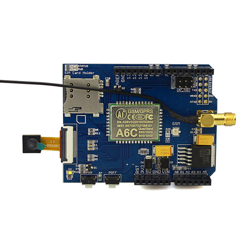 Elecrow GPRS/GSM Camera Shield Quad-Band Use A6C Module Minimum System Board With PCB Antenna DIY Phone Kit Free Shipping(China (Mainland))
