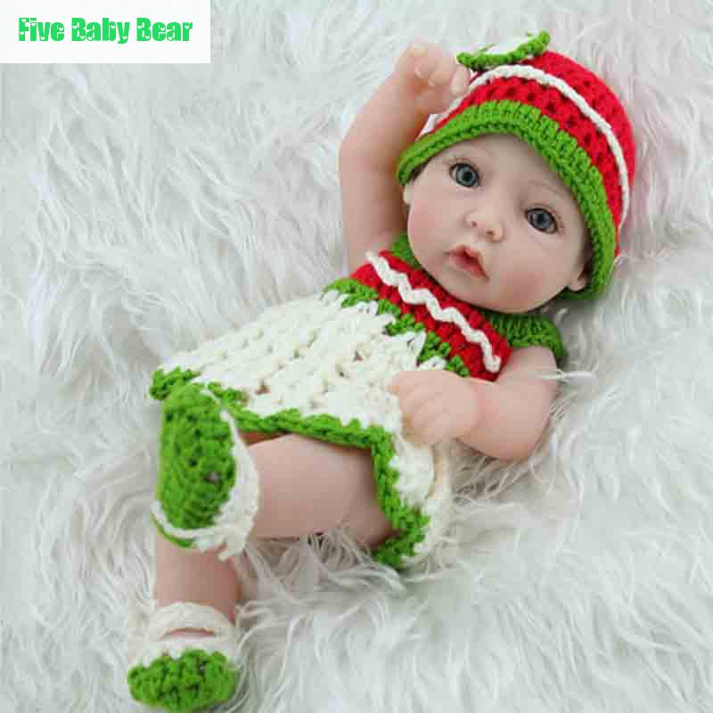 10inch Bonecas Reborn Baby Dolls Lifelike Reborn Babies Toys With Handmade Crochet Clothes Bonecas(China (Mainland))