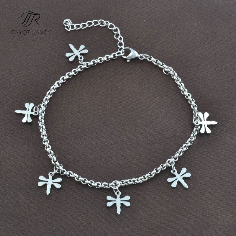 Stainless Steel Anklet Chain Foot Jewelry Ankle Bracelet with dragonfly pendant Anklet-9(China (Mainland))