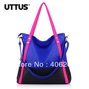 free shipping  uttus 2013 neon  color block preppy style high quality pu leather ladies' handbag shoulder bag sling bag