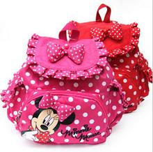 Children Backpacks Baby Girls School Bags Polka Dots Cartoon Minnie Mochila Infantil Retail 1PC ZZ3057(Hong Kong)