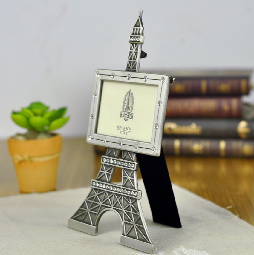 free shipping fashionable zinc alloy photo frame diamond setting paris eiffel tower photo frame home decoration