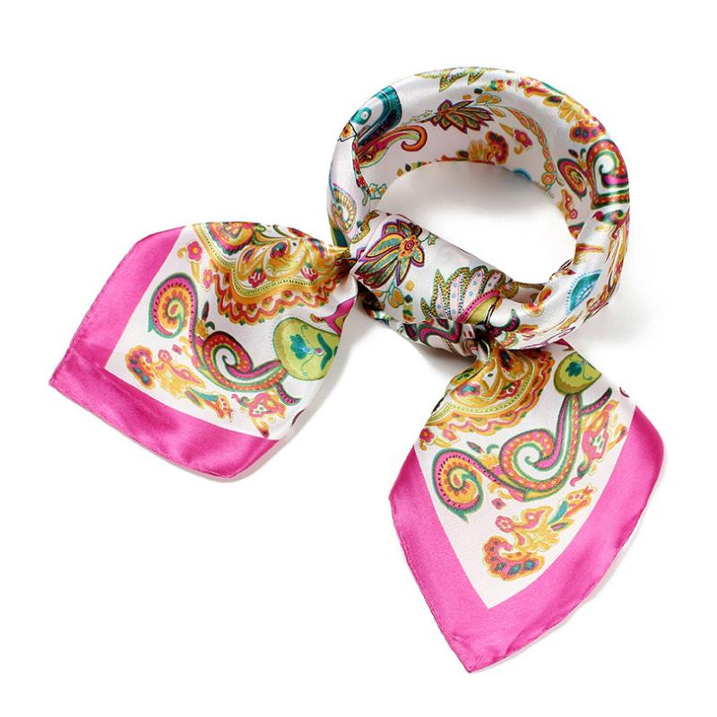 European America Cashew Printed Imitated Silk Scarf Women Polyester Headband Square Satin Scarves Z-2249()