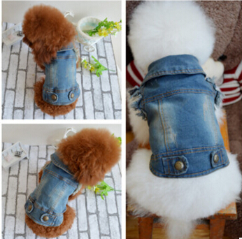 Spring Autumn Jeans Small Dog Clothes Denim Dog Jeans Coat Cowboy Pet Puppy Dog Jacket small dog clothes XXS XS S M L(China (Mainland))