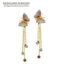 Neoglory Butterfly Long Tassel Dangle Drop Earrings Bridesmaid Teen Girl 2016 New Bday Birthstone Gifts Fashion Jewelry JS6(China (Mainland))