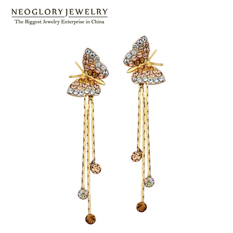 Гаджет  Neoglory Auden Rhinestone Butterfly Drop Earrings Alloy 14k Gold Plated 2013 New Arrival Free Shipping Gift For Women None Ювелирные изделия и часы